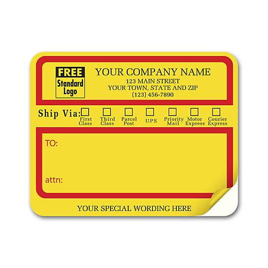 "[Image: Jumbo Mailing Labels with ""Ship Via"" Check Boxes, Padded - Yellow]"