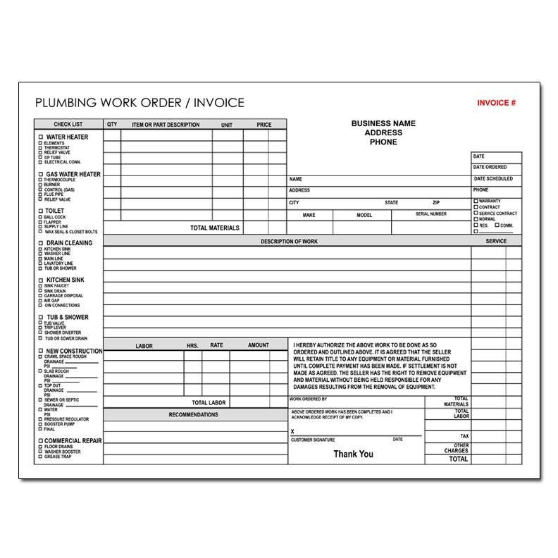 Plumbing Contractor Invoice Forms Work Order Custom