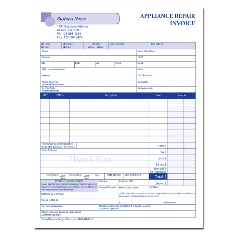 appliance repair form designsnprint