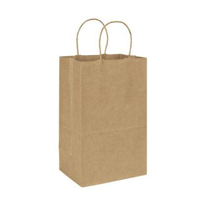 "[Image: Brown Kraft Paper Bag with Handles, Custom, Recycled, Tall, 8 3/4 x 6 x 14""]"