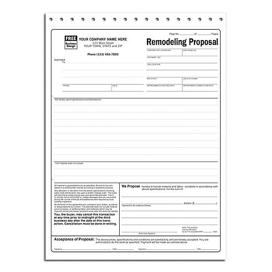 [Image: Remodeling Proposal Form]