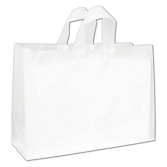 [Image: Clear Frosted High Density Flex Loop Shoppers]