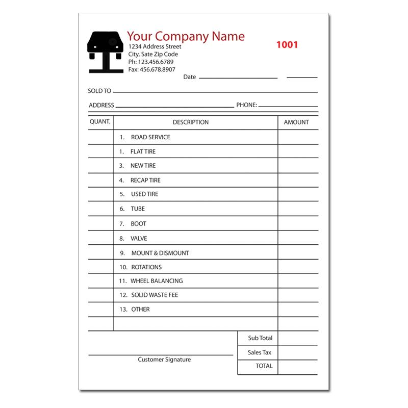 Tire Shop Invoice Form Sales Or Repair Receipt Printing