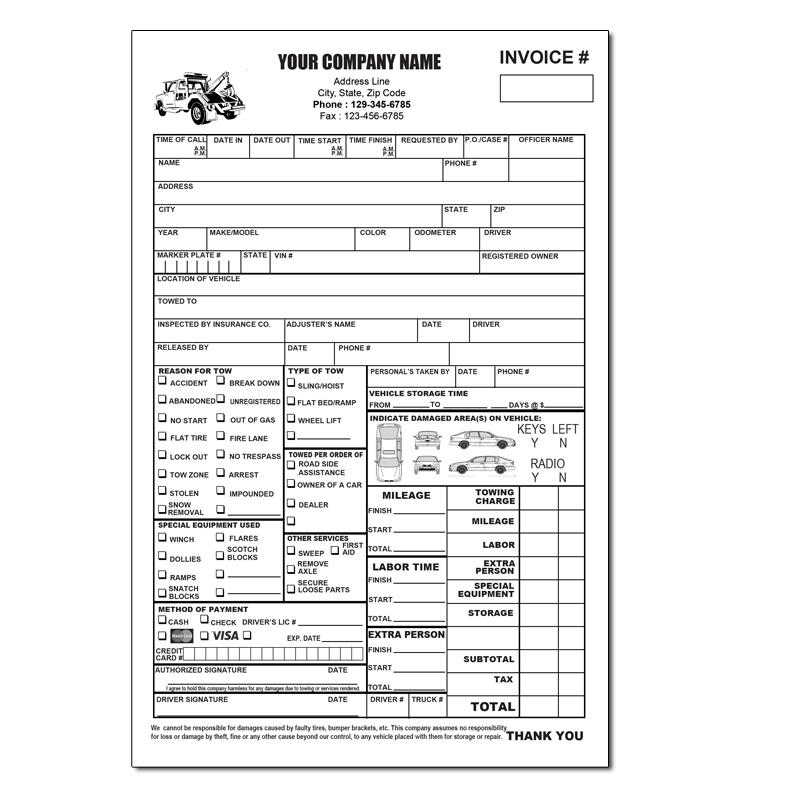 custom towing invoice form