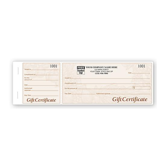 [Image: Harvest Gift Certificates, Booked, Light Burgundy - Custom Printed]