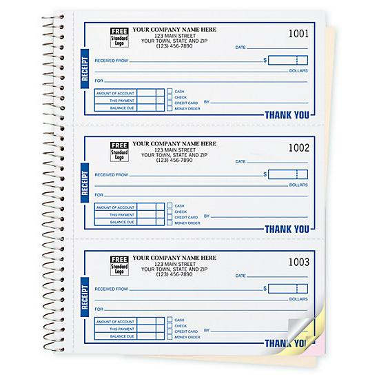 Cash Receipt Book Customized Custom Carbonless Printing - Personalized invoice books