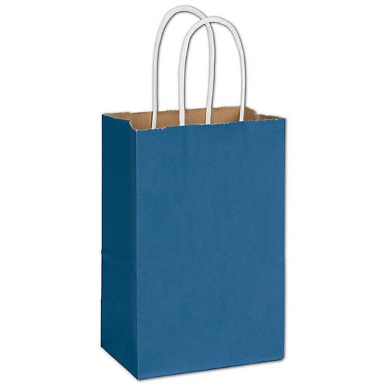 "[Image: Blue Shopping Paper Bag With Handles, 5 1/4 x 8 1/4"", Retail Bags]"