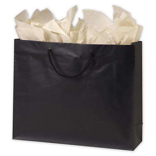 "[Image: Premium Black Matte Euro-Shoppers Bag, 16 X 4 3/4 X 13""]"
