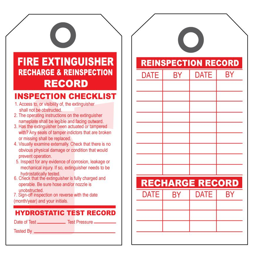 [Image: Fire Extinguisher Re-inspection & Recharge Tag]