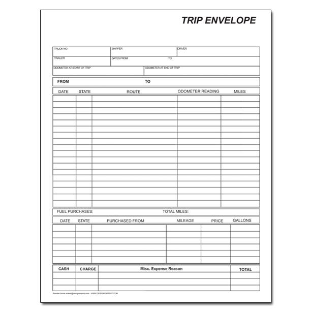 Truck Drivers Trip Sheet Template