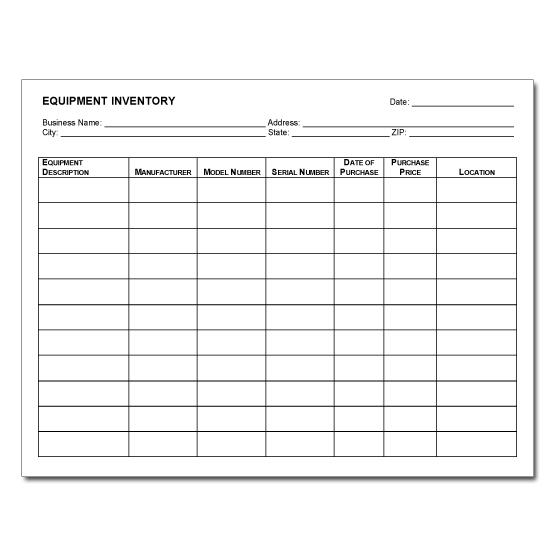 [Image: Equipment Inventory Form]