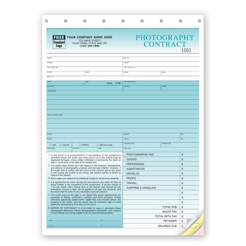 Photography Invoice Form - Custom Printing | DesignsnPrint