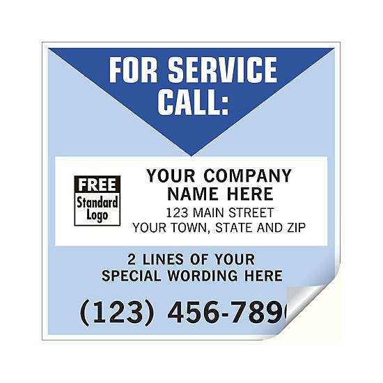 [Image: For Service Call Labels, Vinyl, White/Blue]