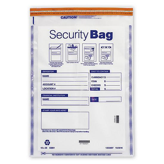 "[Image: 19 X 28"" Currency Shipping Deposit Bag, Clear]"