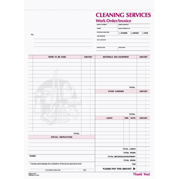[Image: House Cleaning Receipt - 3-Part Carbonless Copies, Preprinted, Personalized]