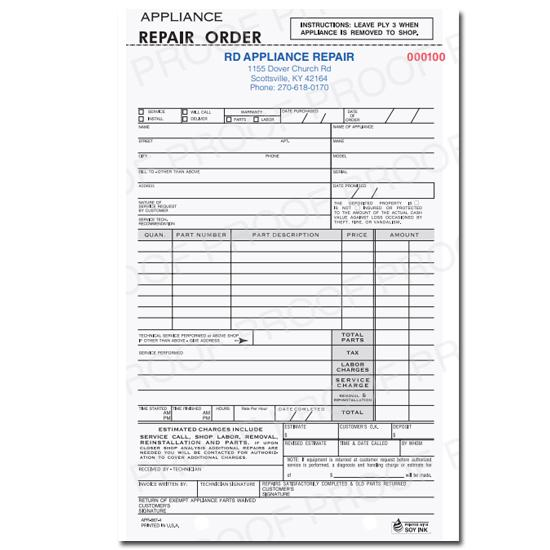 [Image: Appliance Repair Order]