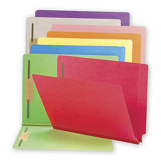 "[Image: End Tab Folders, Colored, 20pt, 1 1/2"" Expansion, 2 Fastener]"