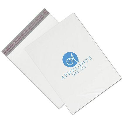 "[Image: Custom printed poly packaging bags, large 12 x 15"", White]"