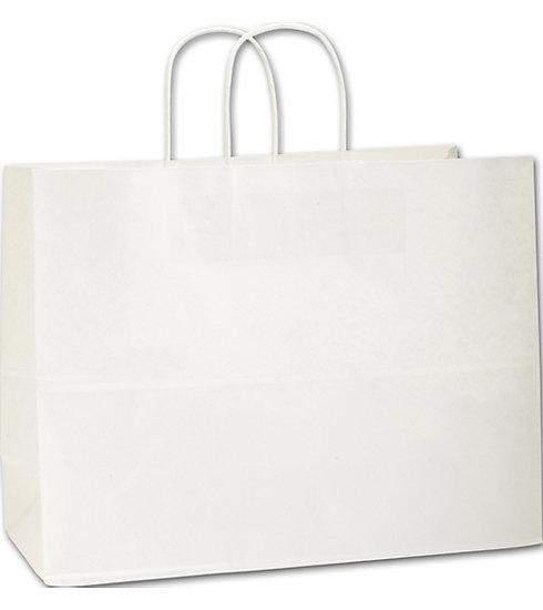 [Image: Recycled White Kraft Paper Shoppers Vogue Bags]