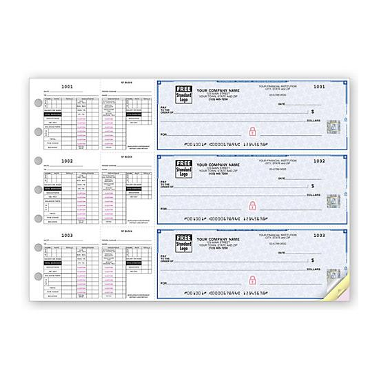 [Image: 3-On-A-Page Payroll Checks, Double Side-Tear Vouchers 53229DS]