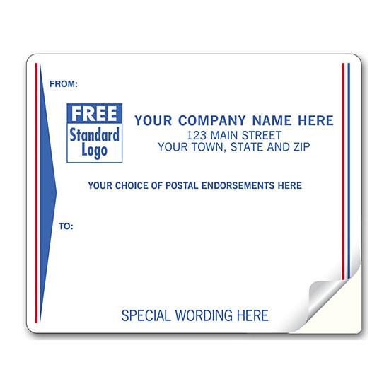 [Image: Shipping Label - Return Address Label Pre-Printed with Red & Blue Border]