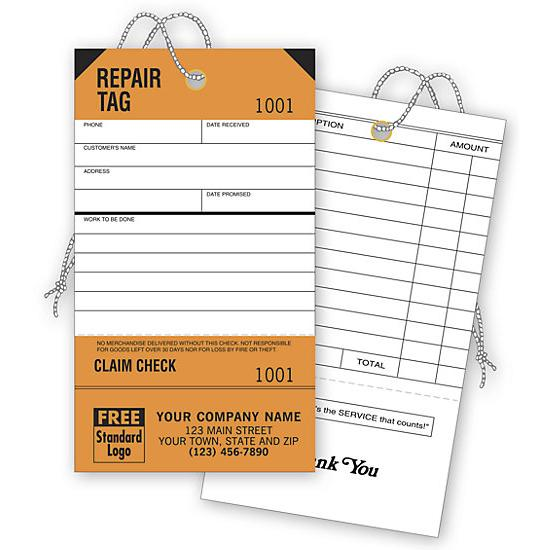 [Image: Repair Tags, Service, Orange, Detachable Claim Check]