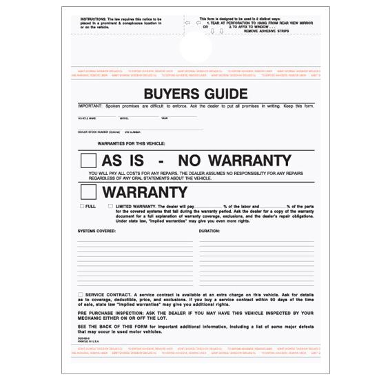 [Image: Car Buyer's Guide No Warranty - 3 Parts Carbonless Form]
