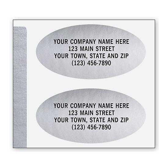 [Image: Advertising Labels, Padded, Paper, Silver Foil, Oval]