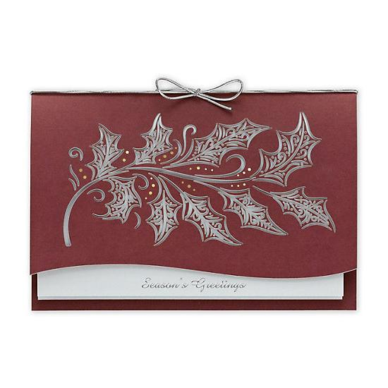 [Image: Etched Holly Laser Cut Holiday Cards]