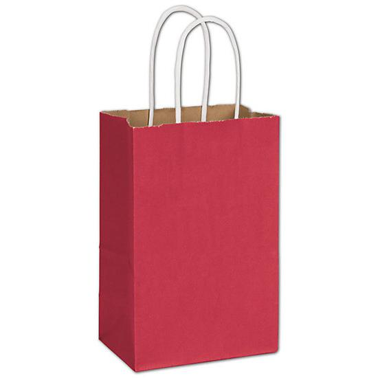 "[Image: Crimson Radiant Shopping Paper Bag With Handle, 5 1/4 X 3 1/2 X 8 1/4"", Retail Bags]"