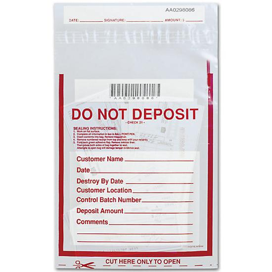 "[Image: 9 X 12"" Do Not Deposit Bag, Clear]"