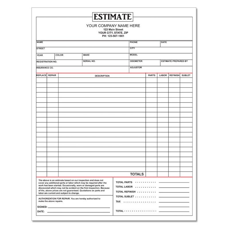 Auto repair invoice work orders custom carbonless for Custom home estimate template