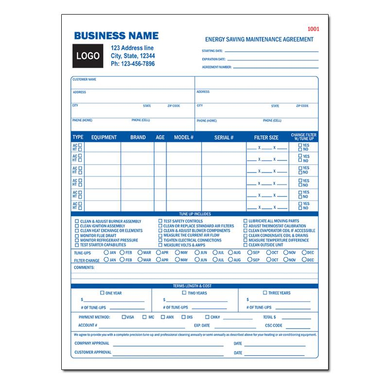 hvac contractor invoice form custom form printing designsnprint. Black Bedroom Furniture Sets. Home Design Ideas