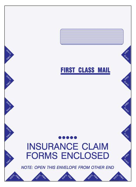 [Image: Large Insurance Claim Form Envelope]
