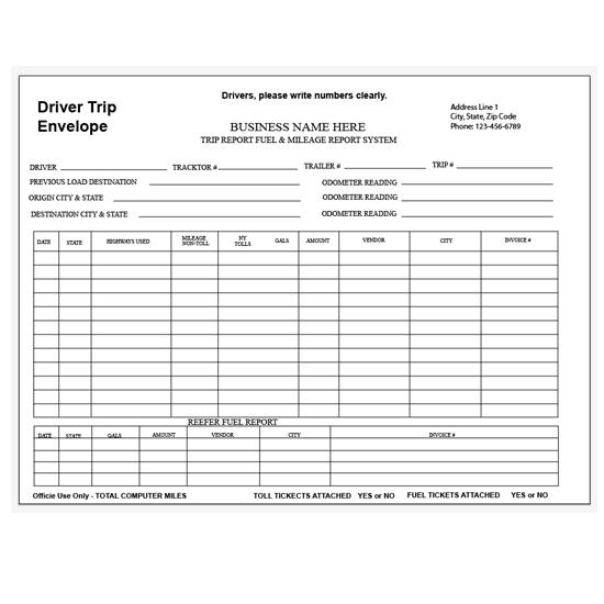 driver daily log sheet with inspection report carbonless printing