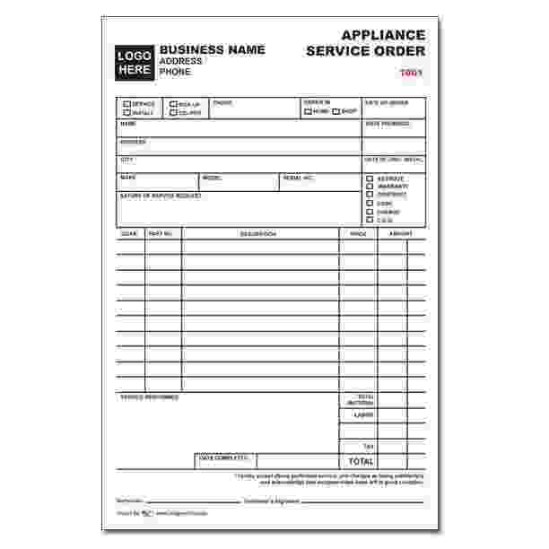APPLIANCE REPAIR INVOICES - Custom Carbonless Forms | DesignsnPrint