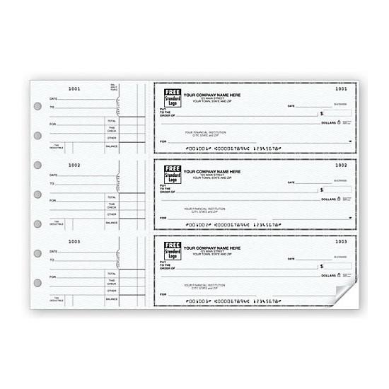 3 On A Page Business Size Checks Side Tear Voucher 53220n