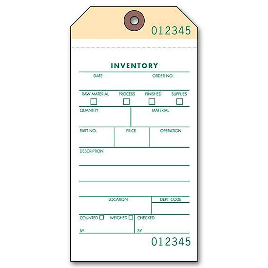 2 Or 3 Part Inventory Tag