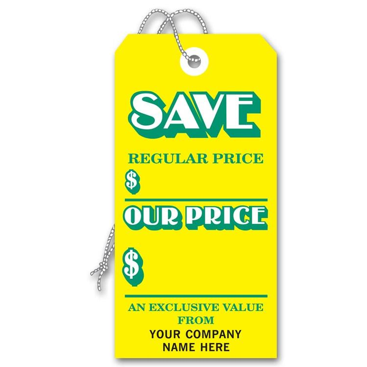 [Image: Sale Save Tag, Yellow Large]