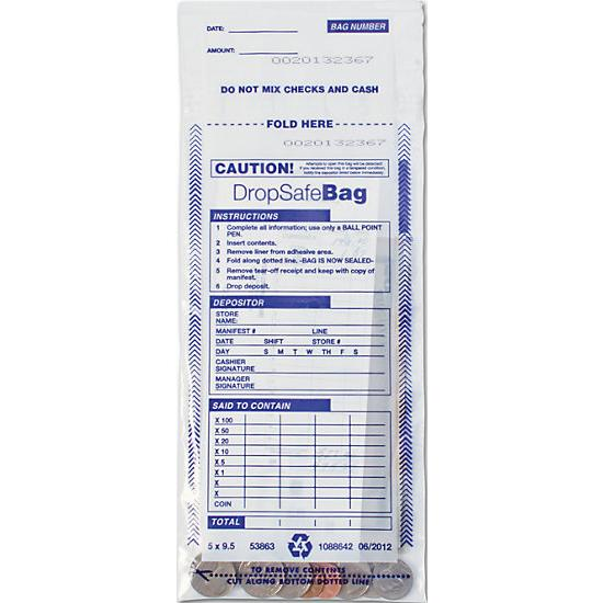 "[Image: 5 X 9 1/2"" Drop Safe Style Deposit Bag, Clear]"