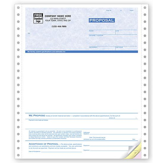 custom printed proposal forms carbonless job proposal forms