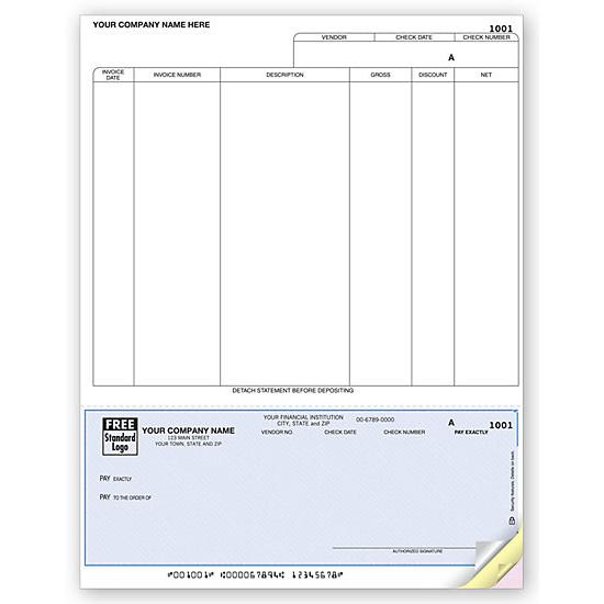 "[Image: Laser Bottom Accounts Payable Check, 7.5"" Voucher]"