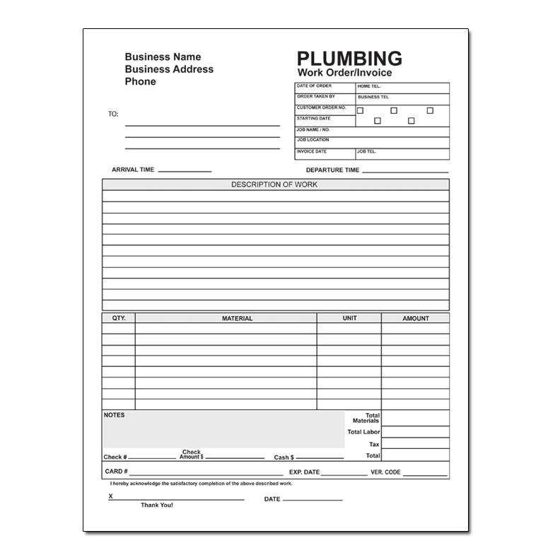 plumbing work order invoice carbonless printing designsnprint. Black Bedroom Furniture Sets. Home Design Ideas