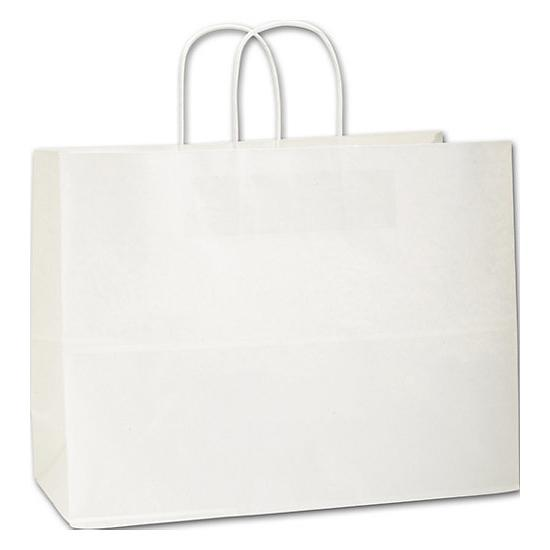 [Image: White Kraft Paper Shopping Bag With Handles, 16 X 6 X 12 1/2, Large Retail Bags]