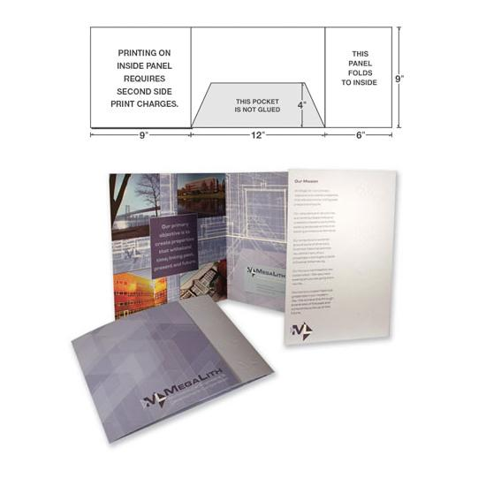 [Image: Tri Panel Presentation Folder, Landscape with& One Center Pocket]