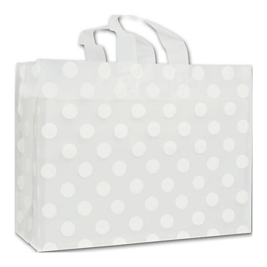 [Image: White Dots Clear Frosted Flex Loop Shoppers]