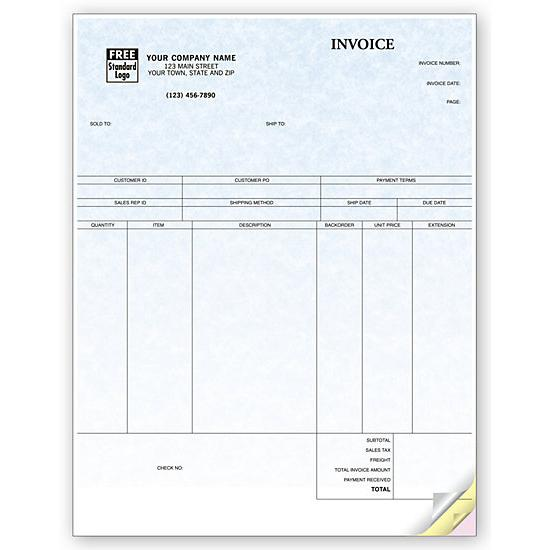 [Image: Product Invoice Form Custom Printed, Laser and Inkjet compatible, Parchment]