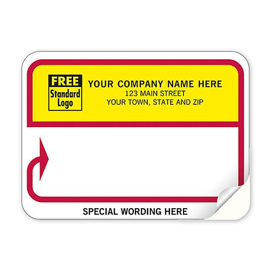 [Image: Continuous Return Address Shipping Label, Red, Yellow, & White]
