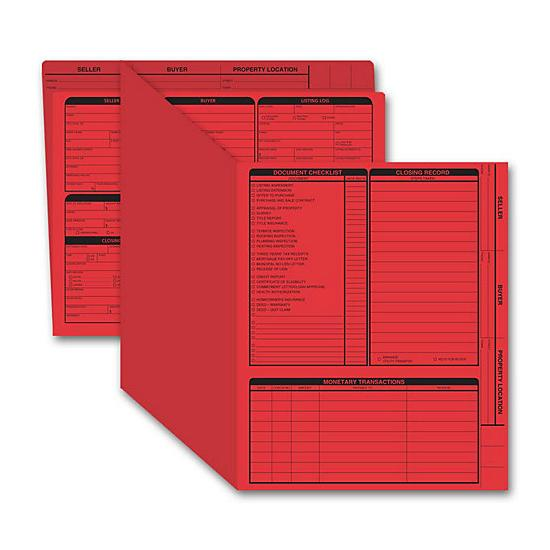 [Image: Real Estate Folder, Right Panel List, Letter Size, Red]