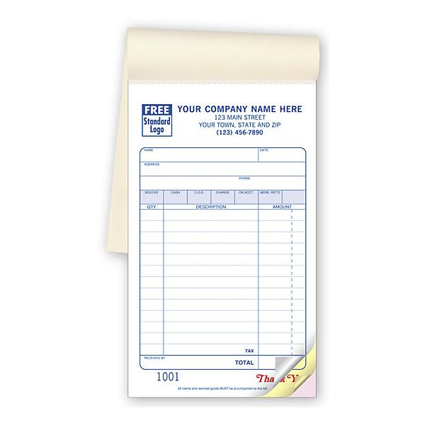 "[Image: Personalized Receipt Book - Multipart Carbonless Copies, 50 sets per book, 4 3/16 x 7"", Preprinted]"